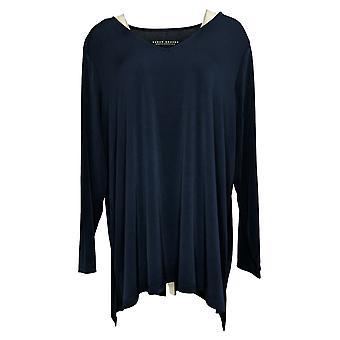 Susan Graver Women's Plus Top Modern Essentials Liquid Knit Blue A453941
