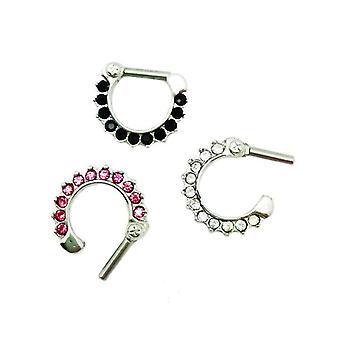 Septum clicker prong set clear,pink ,black  jewel nose ring 14 gauge 8mm 5/16