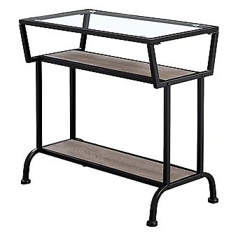 """12"""" x 24"""" x 22"""" Dark Taupe with Black Coated  Metal and Clea  Tempered Glass  Accent Table"""
