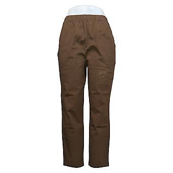 Denim & Co. Women's Petite Pants Stretch Side Pocket Brown A375348