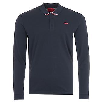 HUGO Donol Sustainable Long Sleeve Polo Shirt - Navy
