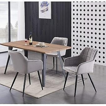 Lusso & Carmello Dining Set | Modern Dining Table | Velvet Dining Chair | Modern Set |  (oak & Light Grey)
