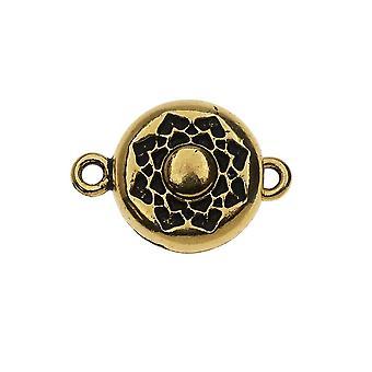 Chiusura magnetica TierraCast, Lotus 14x20,5 mm, 1 set, placcato oro antico placcato