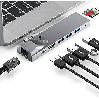FengChun USB C Hub, USB C Adapter mit HDMI 4K, Thunderbolt 3, 3 USB 3.0, Gigabit Ethernet RJ45,