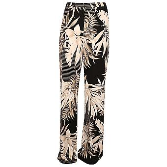 Frank Lyman Black & Beige Tropical Leaf Print Wide Legged Trousers