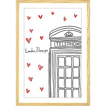 Poster london i love you telephone boxes