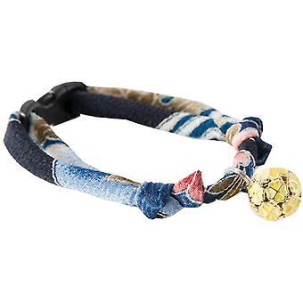 NECOICHI japanische chirimen Stoff Katzenhalsband mit Klee-förmigen Anhänger Marineblau