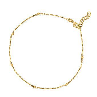14k geelgouden vrouwen gepolijste afwerking getextureerde kralen enkelband sieraden geschenken voor vrouwen - 1,9 gram