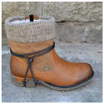 Winter Warm- Basic Ankle, Round-toe, Zip Platform, Lace-up Boots
