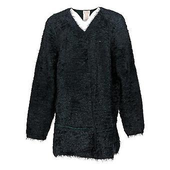 LOGO by Lori Goldstein Women's Sweater Reversible Cardigan Blue A370304