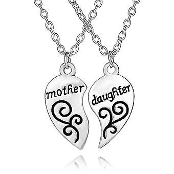 Mother and Daughter Heart Necklace Women Love ''Mom'' Necklace Mother's Day Gifts For Mother(Silver)