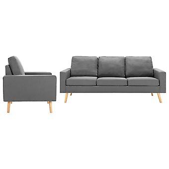 vidaXL 2 pcs. Sofa set fabric light grey