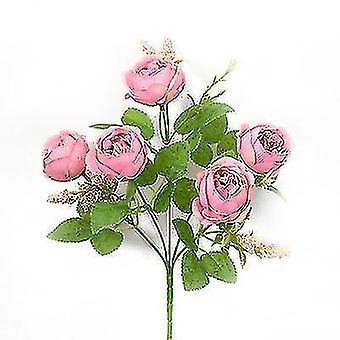 4pcs Simulering Rose Bukett Falske Blomst Dekorasjon Blomst Rose Hånd Bukett Dress Up Flower (Rosa)