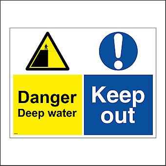 MU169 Danger Deep Water Keep Out Sign with Circle Exclamation Mark Triangle Man Cliff
