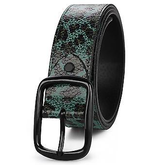 YANGFAN Fashion PU Cinturón de cuero con estampado de leopardo para jeans