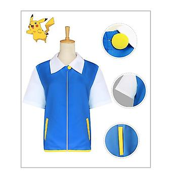 Ash ketchum cosplay costume manteau bleu chapeau gants poke ball anime cosplay costumes d'halloween