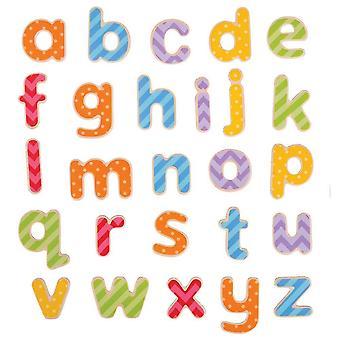 Interlocking blocks educational wooden magnetic letters - lowercase