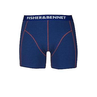 Fisher Fisher & Bennet et Bennet Mens coton Stretch Denim bleu Boxer Shorts