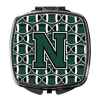 Letter N Football Green and White Compact Mirror