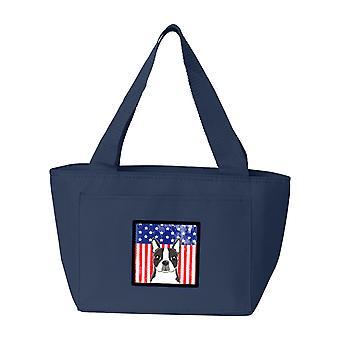 Carolines trésors BB2133NA-8808 drapeau américain et le sac à Lunch Boston Terrier