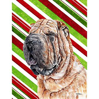 Shar Pei Candy Cane Christmas Flag Canvas House Size