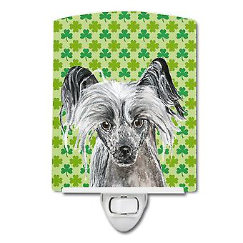 Chinese Crested Lucky Shamrock St. Patrick's Day Ceramic Night Light