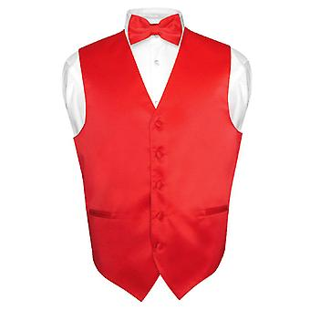 Men's Dress Vest & BowTie Solid Bow Tie Set for Suit or Tuxedo