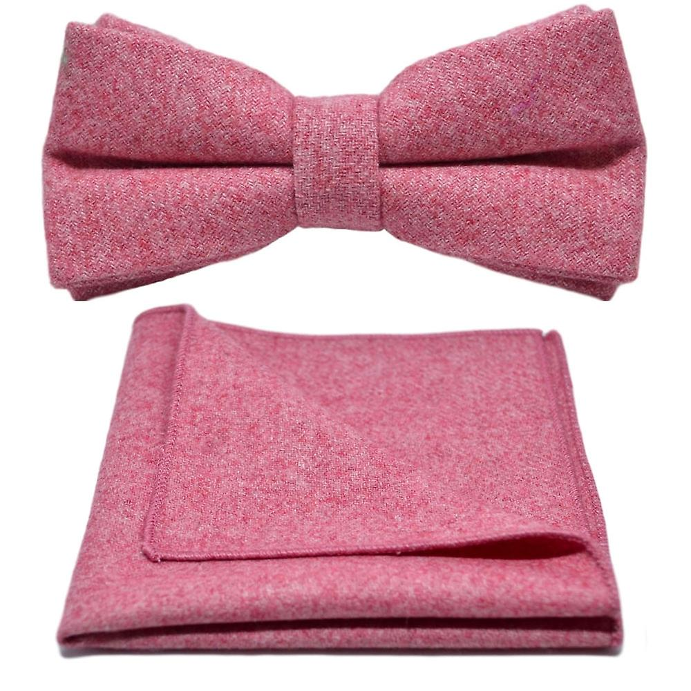 Stonewashed Red Bow Tie & Pocket Square Set