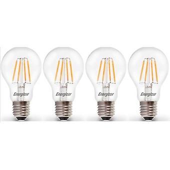 4 X Energizer LED Filament GLS Light Bulb Lamp Vintage ES E27 Clear 4.5W = 40W ES E27 Cap[Energy Class A+]