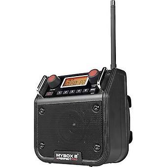 PerfectPro Mybox 2 Workplace Radio FM AUX splashproof، مقاوم للغبار، أسود مقاوم للصدمات