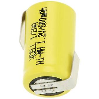 XCell X1/2AA600-LF nicht-standard-Batterie (Akku) 1/2 AA Z Löten Registerkarte NiMH 1,2 V 600 mAh
