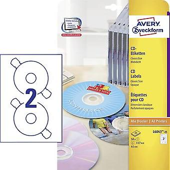 Etiquetas de CD Avery Zweckform L6043-25 Ø 117 mm papel blanco 50 PC de tinta opaca permanente, Laser