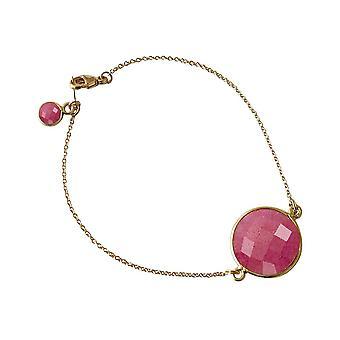 Gemshine kvinnors armband guldpläterad rubinröd facetterad 19 cm