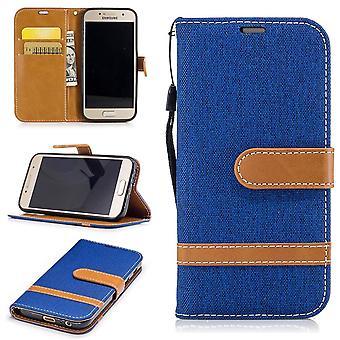 Tasche für Samsung Galaxy A3 2017 Jeans Cover Handy Schutz Hülle Case Blau