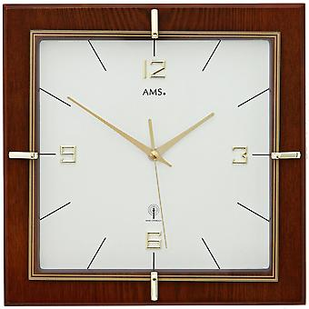 Radio controlled wall clock wall clock Walnut lacquered mineral glass diameter 29 cm
