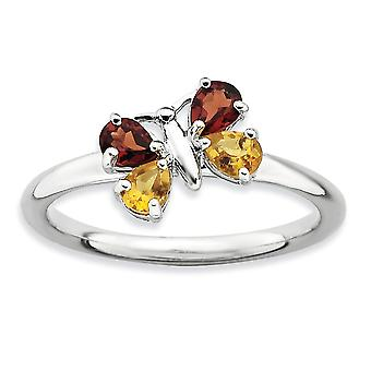 2.25mm 925 Sterling Silver Prong ensemble Rhodium plaqué Expressions Polished Ci et Ga Butterfly Angel Wings Ring