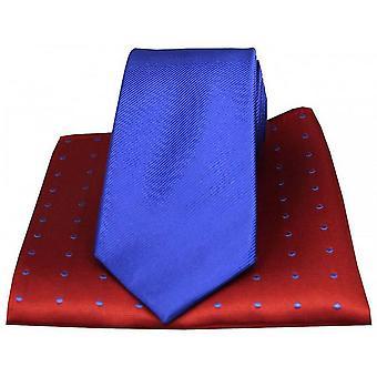 David Van Hagen Ribbed Tie and Polka Dot Handkerchief Set - Blue/Red