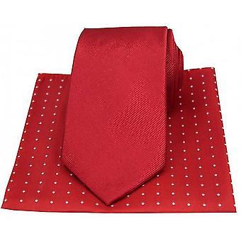 David Van Hagen ribbels Tie en Pin Dot zakdoek Set - rood