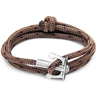 Anchor and Crew Union Silver and Rope Bracelet - Brown