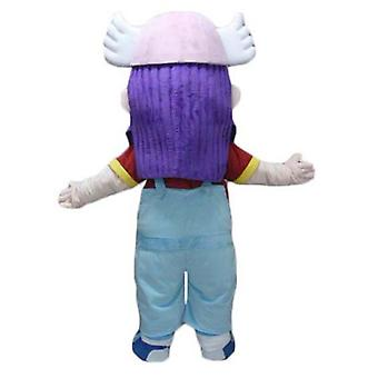 mascot SPOTSOUND girl with purple hair, in overalls