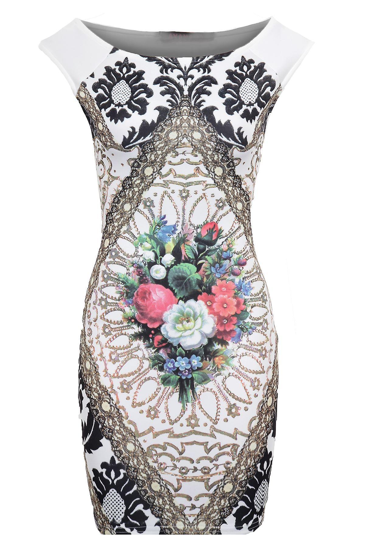 Hyvät Hihaton vene kaulan kukka tulostaa Bodycon naisten lyhyt mekko
