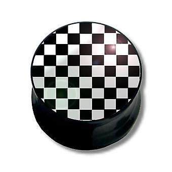 Plug, Piercing, bijoux de corps, noir et blanc carrés d'oreille   6 - 16 mm