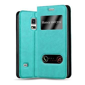 Cadorabo Hülle für Samsung Galaxy S5 MINI / S5 MINI DUOS hülle case cover - Handyhülle mit Magnetverschluss, Standfunktion und 2 Sichtfenstern – Case Cover Schutzhülle Etui Tasche Book Klapp Style