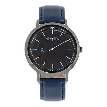 Simplify The 6500 Leather-Band Watch - Blue/Black