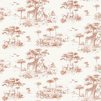 Safari Wallpaper selva jirafa tropicales exóticos árboles de flores aves de Rasch