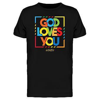 Farverige Slogan Gud elsker dig Tee mænd-billede af Shutterstock