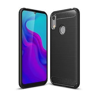 Huawei A6 2019 TPU étui en fibre de carbone optique brossé étui de protection noir