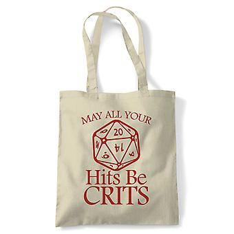 May All Your Hits Be Crits, Tote - DND Dungeon Dragon Reusable Shopping Bag Gift