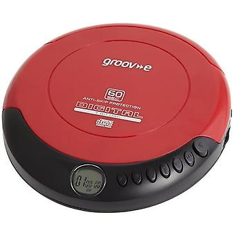 Groov-e Retro Series Personal CD Player with Earphones - Red (GVPS110)