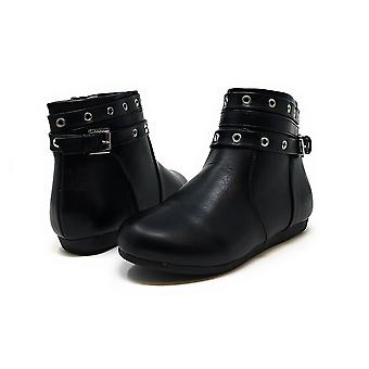 Sara Z Girls Grommet Studded Strap Fashion Flat Ankle Bootie Boots